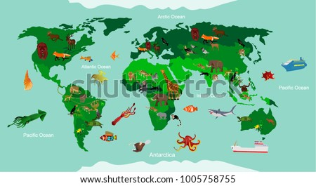 Animals world map educational animals different stock vector animals world map educational animals different species continent animals sea life south gumiabroncs Image collections