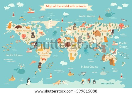 animals world map kid world vector stock vector hd royalty free 599815088 shutterstock