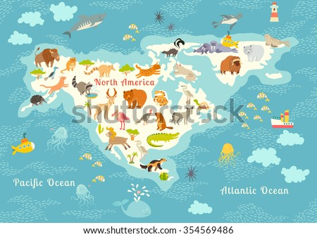Animals world map, North America.Colorful cartoon vector illustration for children and kids. North America mammals,sea life. Animals poster.Preschool, education, baby, continents, oceans, drawn, Earth - stock vector