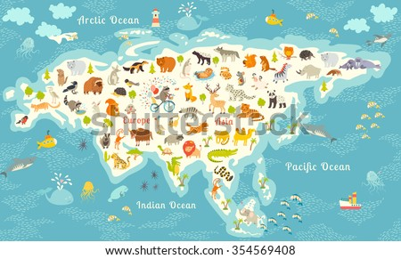 animals world map north america colorful vector illustration for children and kidsnorth