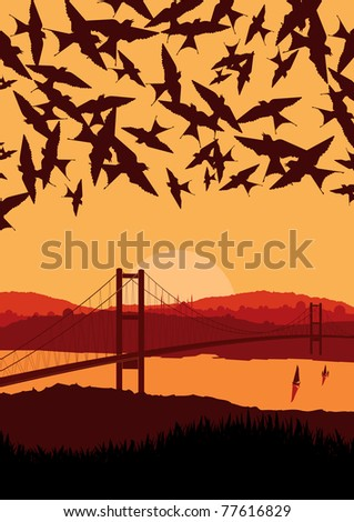 Animated flying swallow swarm over magic Turkish city landscape illustration - stock vector