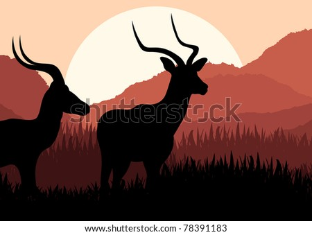 Animated gazelle couple in wild nature landscape illustration - stock vector