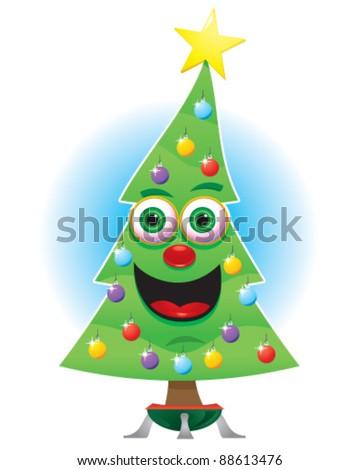 Animated Happy Christmas Tree - stock vector