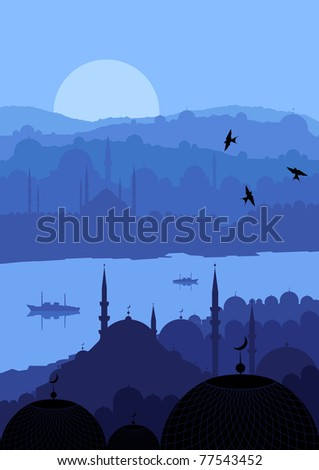 Animated magic Turkish city Istanbul landscape illustration - stock vector