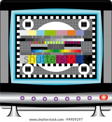 Animated television test. TV set with multicolor signal test pattern.