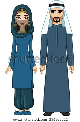 Animation Arab family: the man and the woman in traditional clothes and hijab. Isolated. Full length vector portrait. - stock vector