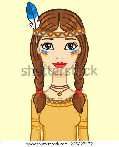 Animation girl in the Indian's suit, isolated. - stock vector