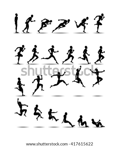 Animation Light Athletics 2016 Summer Games jumping black silhouette white background Icon Set.