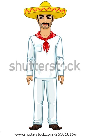 Animation Mexican man.  Isolated on a white background. - stock vector