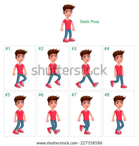 Animation of boy walking. Eight walking frames + 1 static pose. Vector cartoon isolated character/frames. - stock vector
