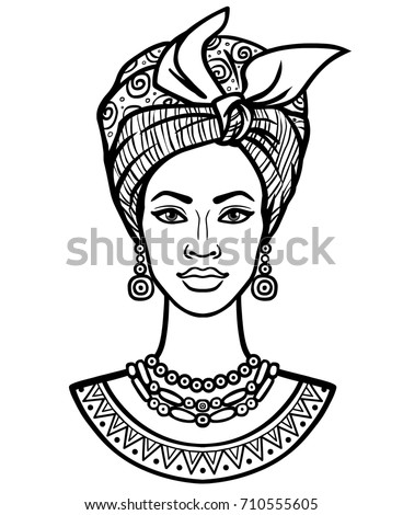 Animation Portrait Young African Woman Turban Stock Vector