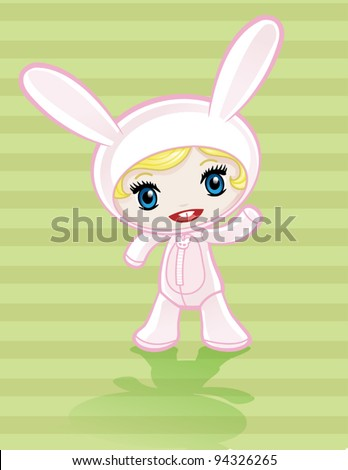 Anime girl in Pink Bunny Costume - stock vector