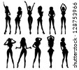 Anime models in different poses. Vector illustration. - stock vector