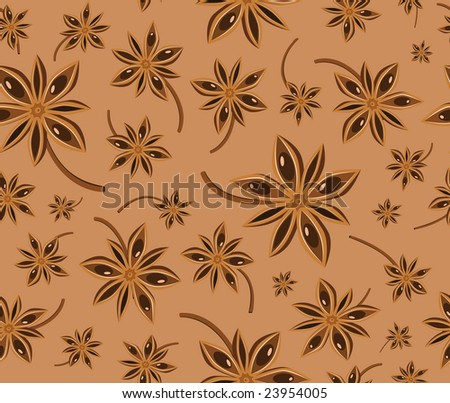 Anise seamless background pattern (vector) - stock vector