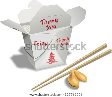 Ann open container of chinese food with chop sticks and a fortune cookie. - stock vector