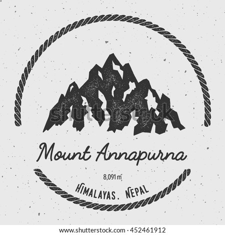 Annapurna in Himalayas, Nepal outdoor adventure logo. Round hiking vector insignia. Climbing, trekking, hiking, mountaineering and other extreme activities logo template.