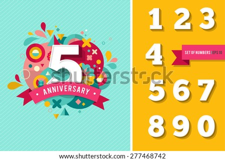 anniversary - abstract background with set of numbers - stock vector