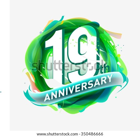 anniversary 19 - abstract green background with icons and elements - stock vector