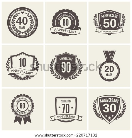 Anniversary celebration black label icons set isolated vector illustration - stock vector