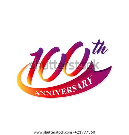 Anniversary Emblems 100 Anniversary Template Design Stock Vector