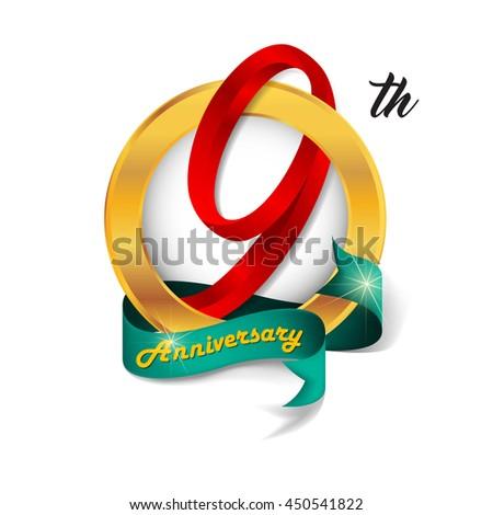 Anniversary emblems 9 anniversary template design - stock vector