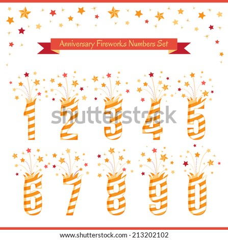 Anniversary fireworks numbers Set. - stock vector