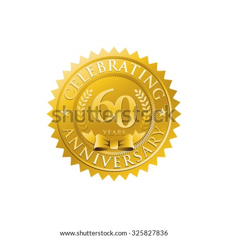 anniversary golden badge logo 60