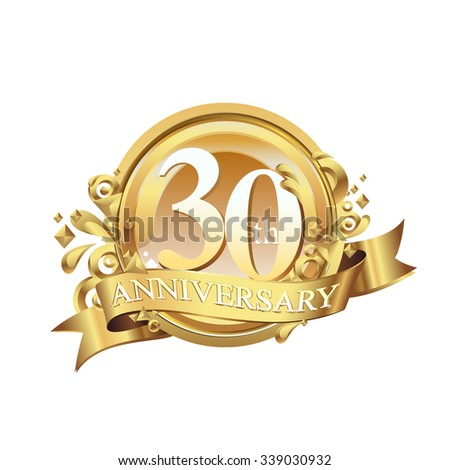 anniversary golden decorative background ring and ribbon 30 - stock vector