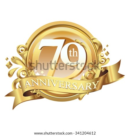 anniversary golden decorative background ring and ribbon 79 - stock vector
