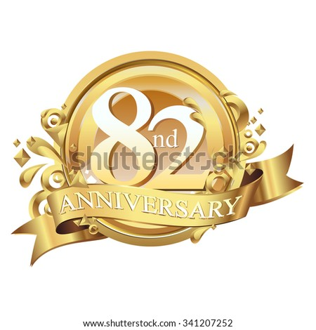 anniversary golden decorative background ring and ribbon 82 - stock vector