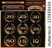 Anniversary golden label with ribbons, golden laurel wreath set - stock vector