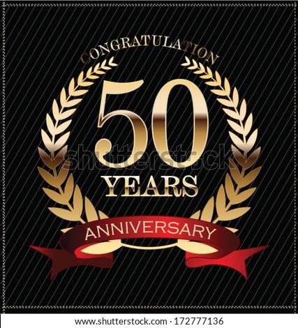 Anniversary golden laurel wreath - stock vector