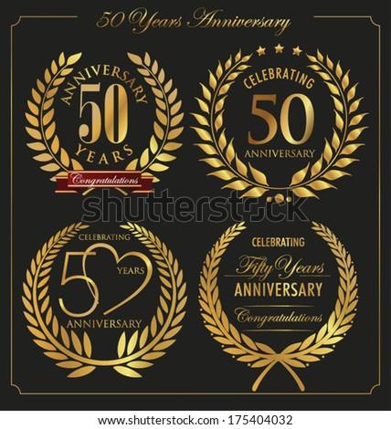 Anniversary golden laurel wreath, 50 years - stock vector