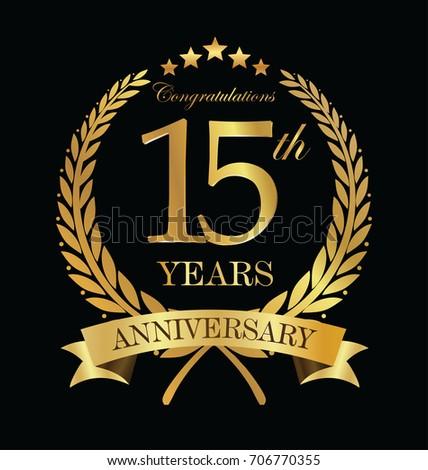 Anniversary Golden Laurel Wreath 15 Years Stock Vector 706770355