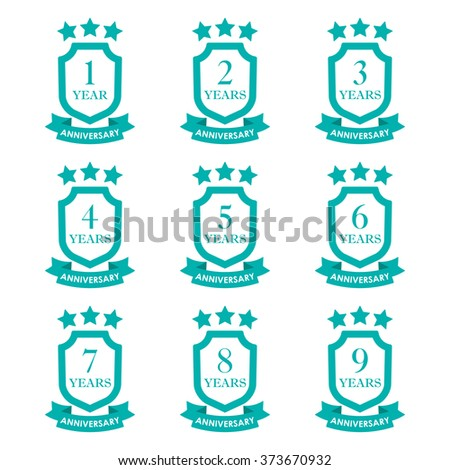 Anniversary icon set. Anniversary emblems with shield and ribbon. 1,2,3,4,5,6,7,8,9 years. Celebration, invitation and congratulation design element. Vector illustration. - stock vector