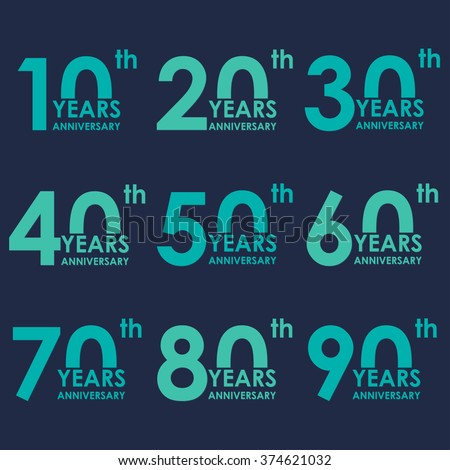 Anniversary icon set. Anniversary flat emblems. 10,20,30,40,50,60,70,80,90 years. Template for cards and congratulation design. Vector illustration. - stock vector