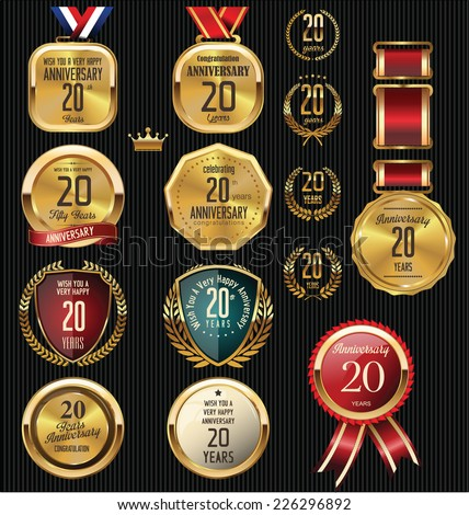 Anniversary label collection, 20 years - stock vector