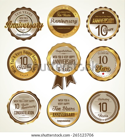 Anniversary labels collection, 10 years  - stock vector