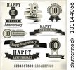 Anniversary labels in retro style - stock vector