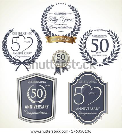 Anniversary laurel wreath - stock vector