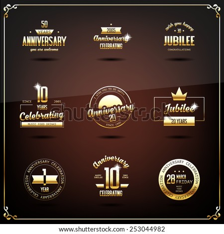 Anniversary logos set. Eps10 illustration. - stock vector