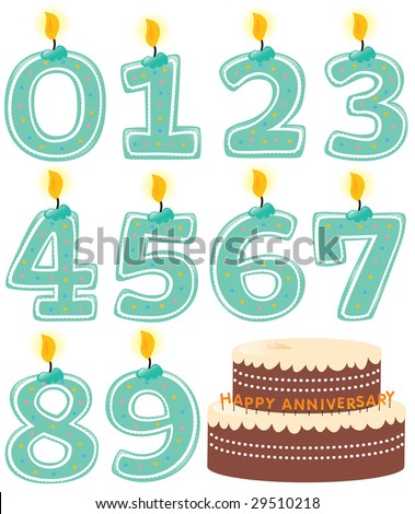 Anniversary Numbered Candle Set and Cake Isolated - stock vector