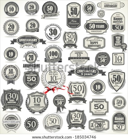 Anniversary retro badges and labels collection - stock vector