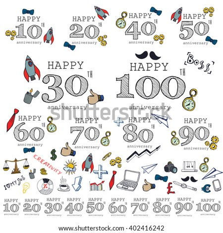 Anniversary sign collection with business symbols. Anniversary cards design in doodle style.