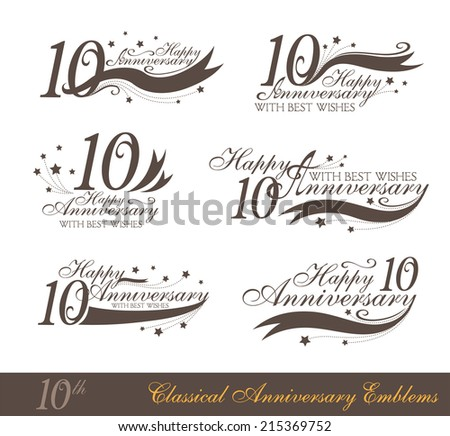 Anniversary 10th signs collection in classic style. Template of anniversary, birthday and jubilee emblems  with number editable and copy space on the ribbons. - stock vector