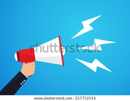 Announced by megaphone, illustration - stock vector