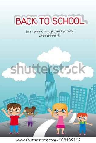 announcement back to school with children. vector illustration - stock vector