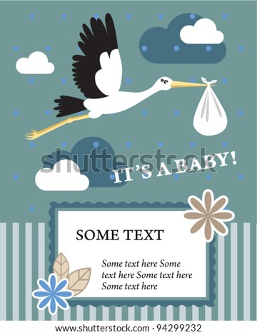 announcement card with a stork carrying a baby - stock vector