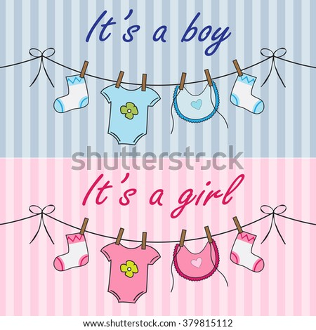 Announcement cards with baby cloths for boy and girl