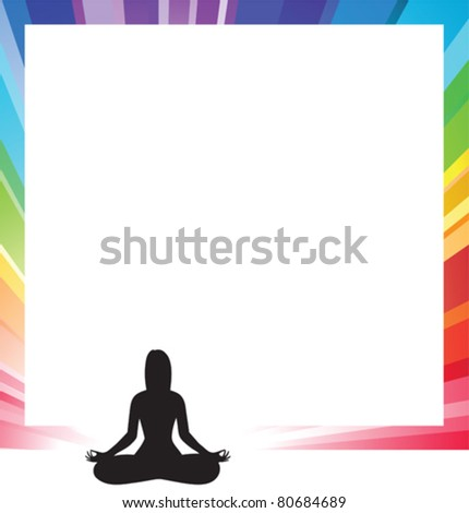 announcement form with silhouette illustration of a woman figure doing meditation - stock vector